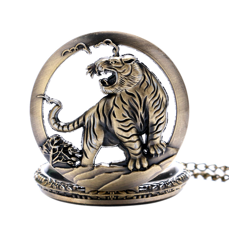 Xmas Gift Bronze Tiger Hollow Quartz Pocket Watch Clock Necklace Pendant Fob Watches Womens Men GIfts Reloj De Bolsillo