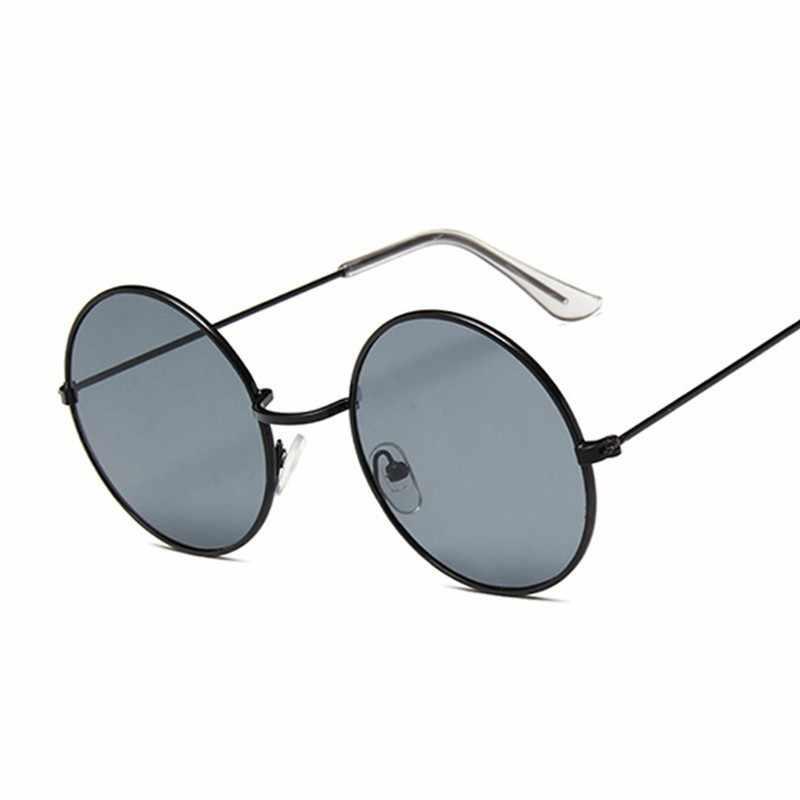 2019 Retro okrągłe różowe okulary przeciwsłoneczne damskie marka projektant okulary przeciwsłoneczne dla kobiet lustro ze stopu kobiet Oculos De Sol czarny