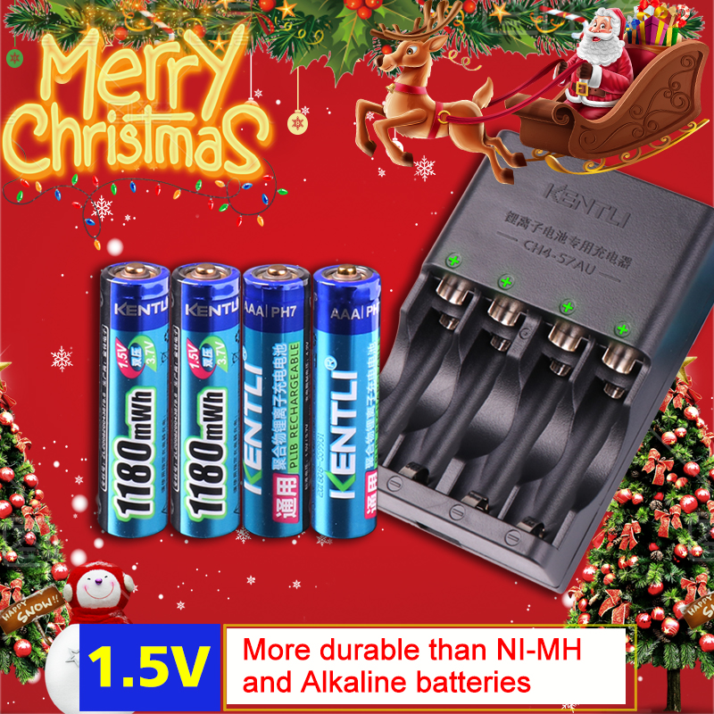 KENTLI 4 stücke 1,5 v aaa 1180mWh Wiederaufladbare Li-Ion Li-polymer Lithium-batterie + 4 slots AA AAA lithium- smart Ladegerät