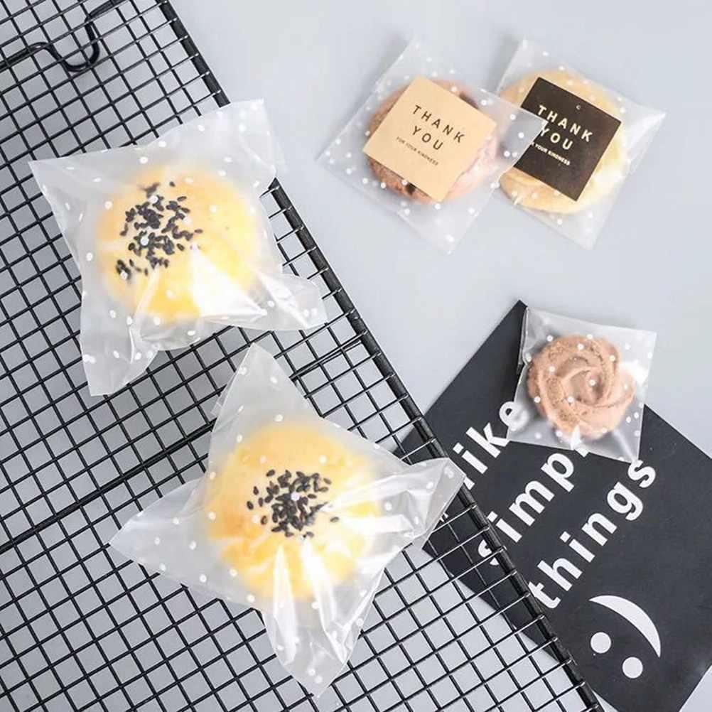 200/100 viên Trắng Chấm bi Mờ Túi Nhựa Tự dán Túi Dễ Thương Bao Bì Túi Kẹo Bánh Quy bánh ngọt