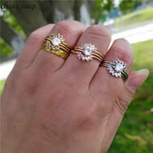 choucong 3-in-1 Flower Promise Ring sets 925 sterling Silver AAAAA Zircon cz Party Wedding Band Rings For Women Bridal Jewelry(China)
