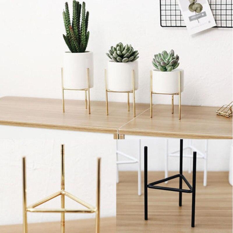 Brand New Fashion Iron Plant Vase Stand Planter Holder Ceramic Flower Solid  Pot Shelf Rack Garden