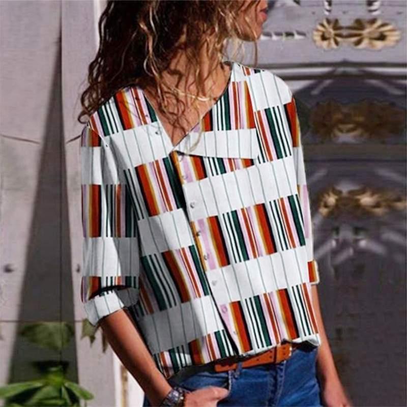 VONDA Women Printed   Blouse     Shirts   2019 Autumn Vintage Lapel Neck Patchwork Tops Sexy   Shirts   Casual Loose Blusas Plus Size 5XL