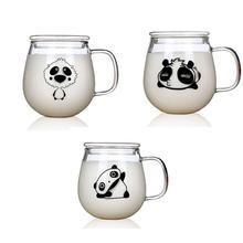 Термостойкое стекло с рисунком панды для завтрака молоко чай кофе чашка с ручкой одна чашка с крышкой для продуктов