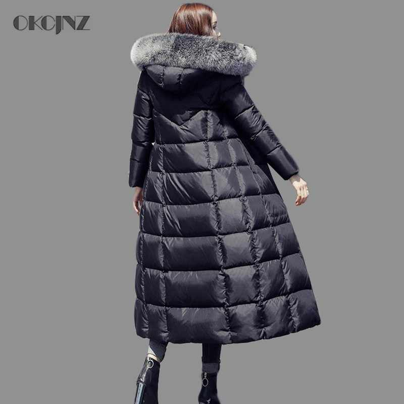 2e5e7df2aaf00 2019 Winter Puffer Jacket Woman Clothes Slim White Duck Down Parka Goose  Feather Coat Long Fur