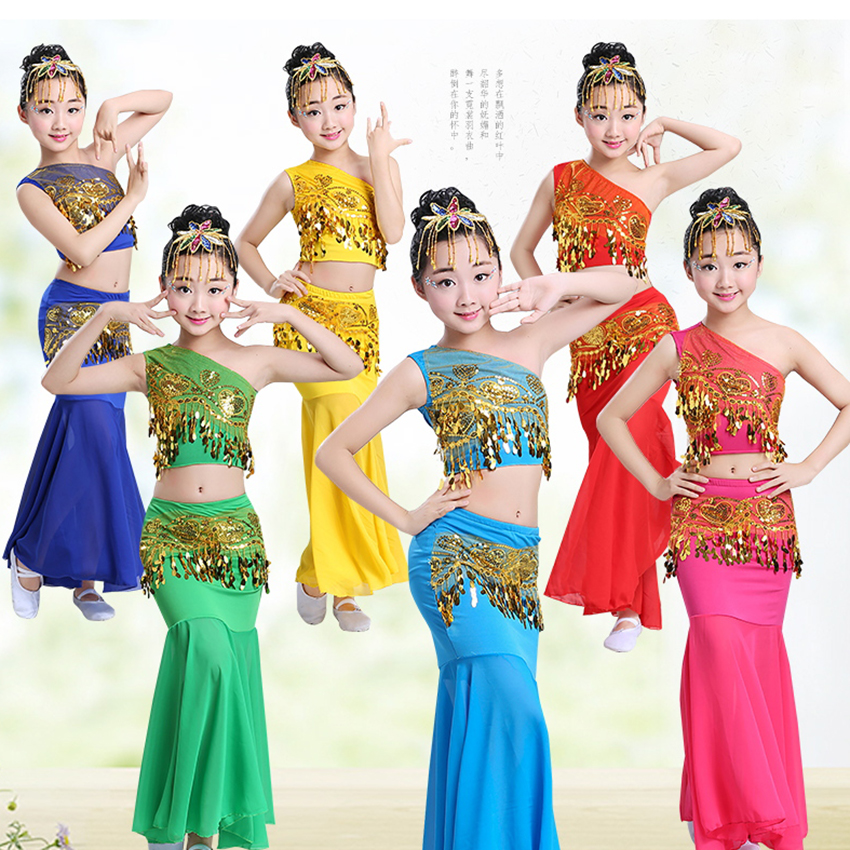 100-160CM Belly Dance Children's Day Women Shoulder Off Girl Cosplay Stage Sequin Oriental Costumes for Kids Skirts Tail Fish