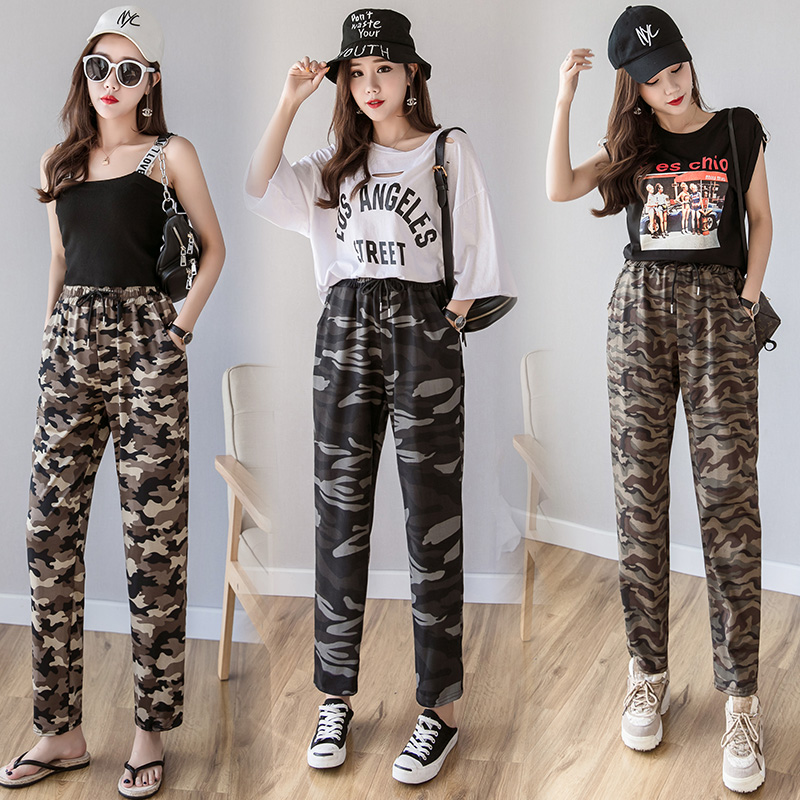 Spring Summer Hot Women Camouflage Jogger Pants Military -3926