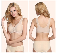 0b213315e2bd7 Mom underwear middle-aged bra without rims vest-style thin section front  buckle cotton
