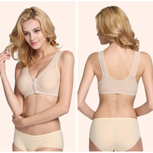 8e01826981 Mom underwear middle-aged bra without rims vest-style thin section front  buckle cotton