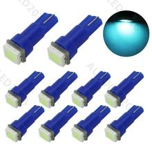 цена на 10pcs T5 74 LED 5050 SMD 1 LED Bulbs Ice Blue Light Lamp Car Interior Lights Auto Wedge Dashboard Gauge Instrument Lights DC 12V