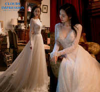CLOUDS IMPRESSION Sexy Backless V neck Wedding Dress 2019 A Line Lace Crystal Beading Bridal Gowns Vestige De Noiva Chapel Train