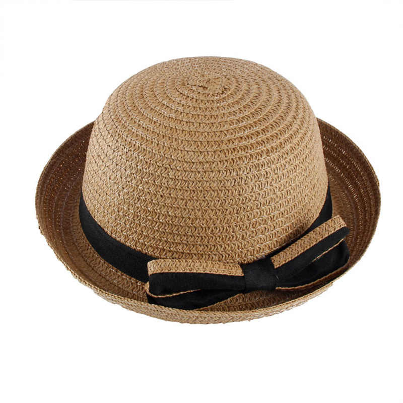 9e7738631e7 ... REAKIDS Children Sun Hats Bow Hand Made Baby Straw Cap Beach Baby Brim  Hat Casual Girl ...