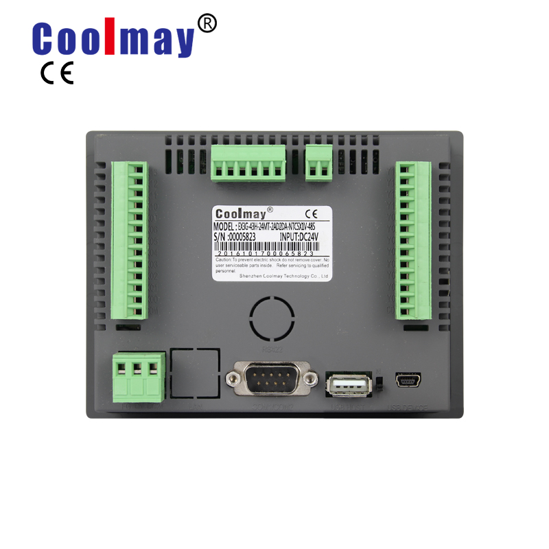 Coolmay EX3G-43HB-24MT-485P 4.3 inch 12di 12do transistor output rs485 rs232 industrial all in one plc touchscreen