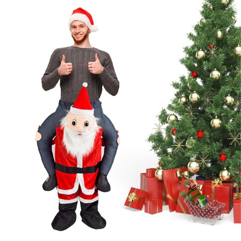 Funny Santa Claus Costume Father Christmas Ride Me Piggyback Adult Xmas Clause Clothes Props Christmas Decorations For Home
