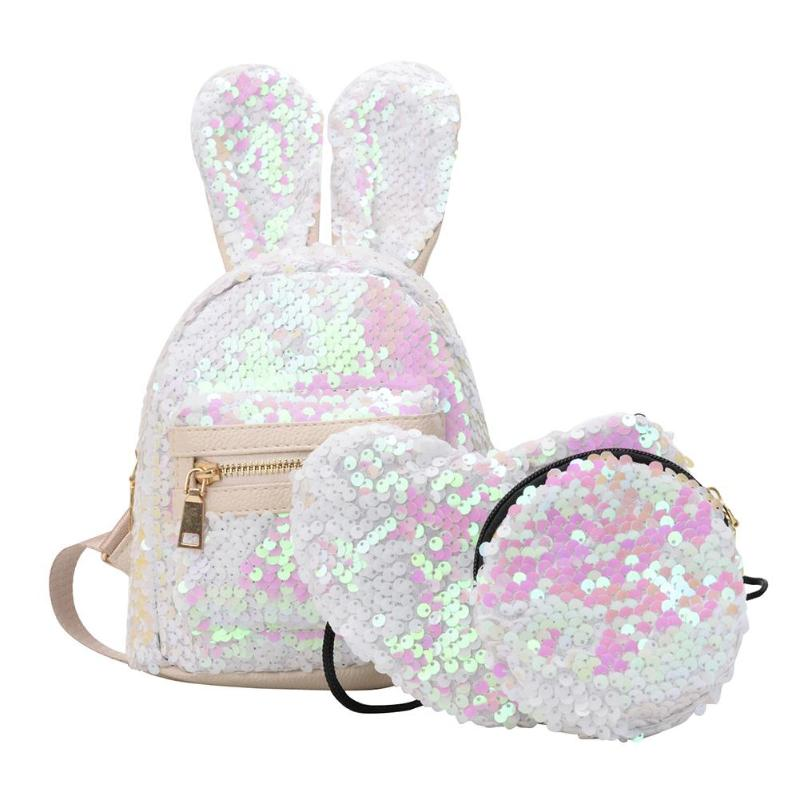 3pcs/set Women Rabbit Ear Backpack For Girls Sequined Travelbag Bling Shiny Rucksack School Bag Cute Heart Shaped Clutch Mochila
