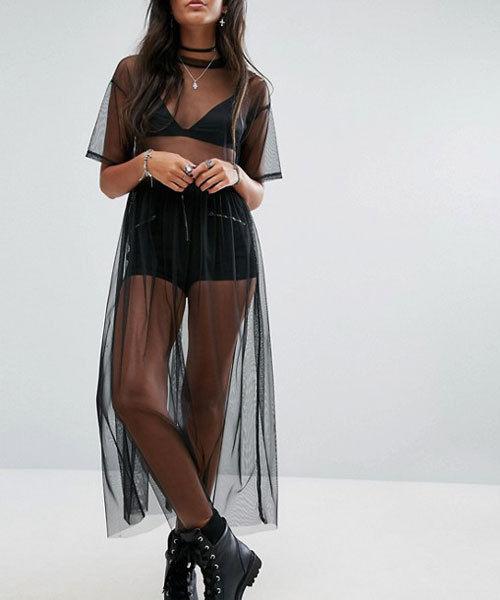 New Fashion Women Black Mesh Cover Up Sheer Short Sleeve Blouses Women Summer Long Casual Clothing Shirts