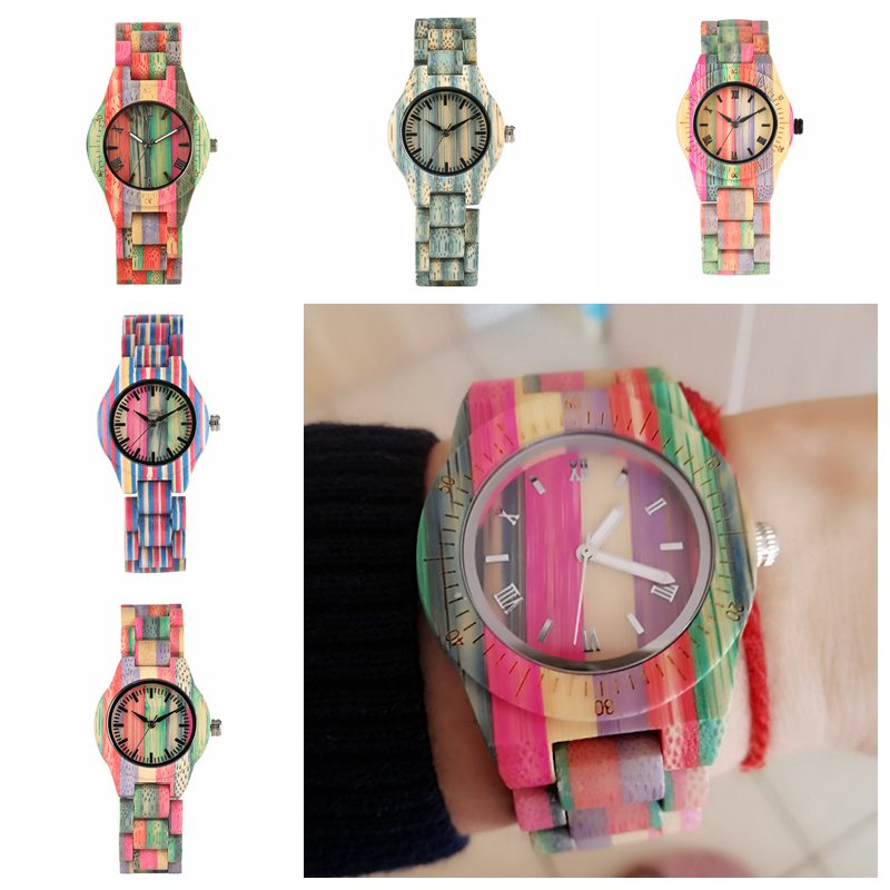 Top Luxury Colorful Wood Watch Women Quartz Full Bamboo Wooden Clock Female Candy Color Bracelet Watch Women's Wrist Reloj Mujer