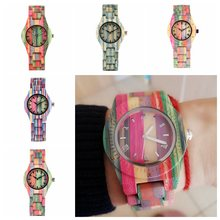 Top Luxury Colorful Wood Watch Women Quartz Full Bamboo Wooden Clock Female Candy Color Bracelet Watch Womens Wrist Reloj Mujer