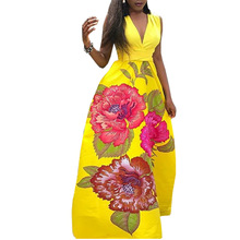 Summer Lace Up Waist Maxi Dress Women 2019 Floral Print Long Dress Casual Ladies Sexy V-neck Sleeveless Party Dresses Plus Size