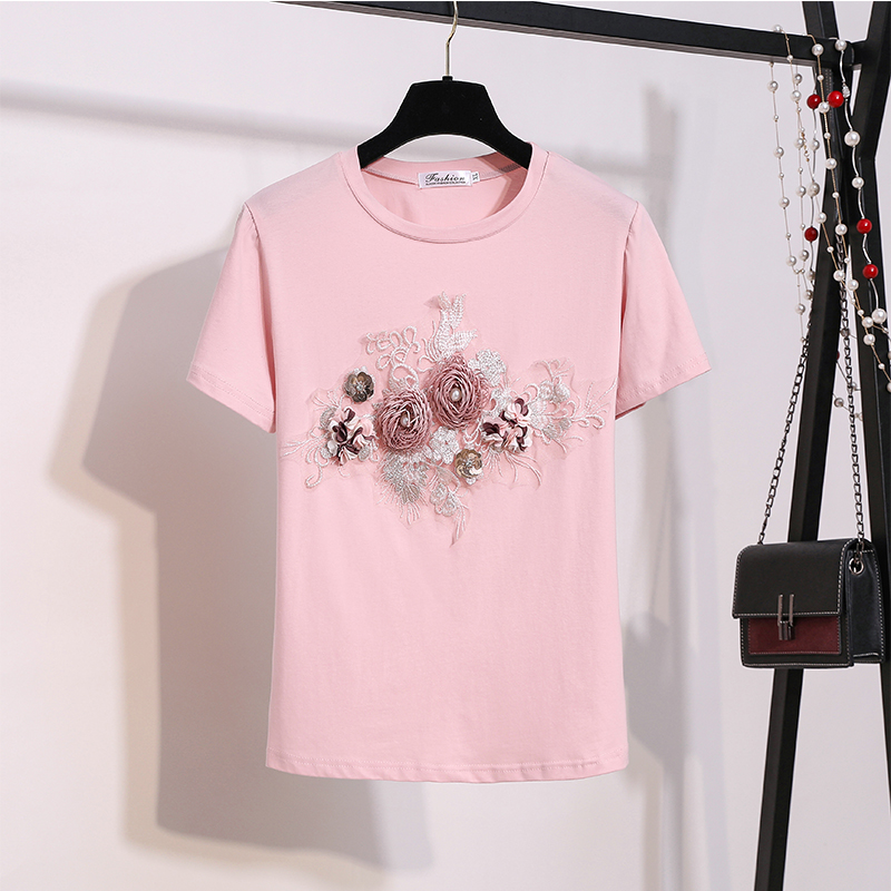 Banulin 2019 Summer Women Short Sleeve Embroidery Appliques Beaded Bird 3D Flowers Stylish Tops And Tees Female T Shirts Mujer in T Shirts from Women 39 s Clothing
