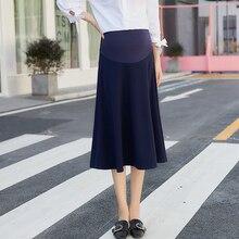 Хорошее качество, Новое поступление, модные юбки для беременных женщин до середины голени, хлопковые юбки для беременных, черные/серые/темно-синие юбки