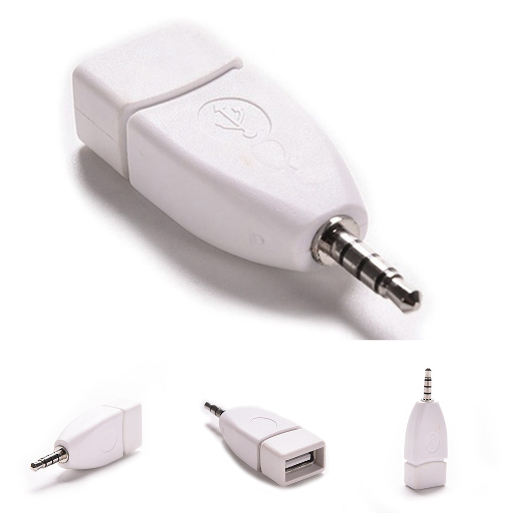 2PCS  3.5mm Jack Male AUX Audio Plug To USB 2.0 Female Converter Adapter Plug White