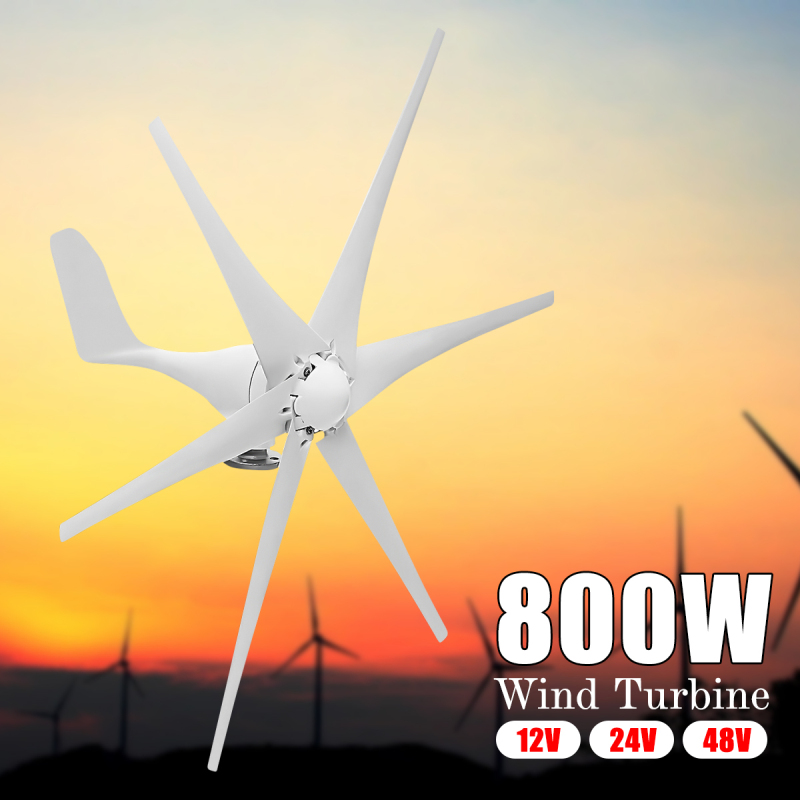 New 800W 12V/24V/48V 6 Nylon Fiber Blades Horizontal Residential Wind Turbines Wind Power Generator For Home Multi Applications цена