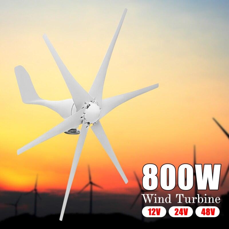 Nouveau 800 w 12 v/24 v/48 v 6 Nylon Fiber Lames Horizontal Éoliennes Résidentielles Vent générateur de puissance Pour La Maison Multi Applications