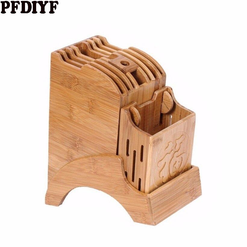 Creative Kitchen Wood Knife Holder For Chopsticks Fork Scissors Detachable Storage Rack Bamboo Knife Block Stand Kitchen Tool