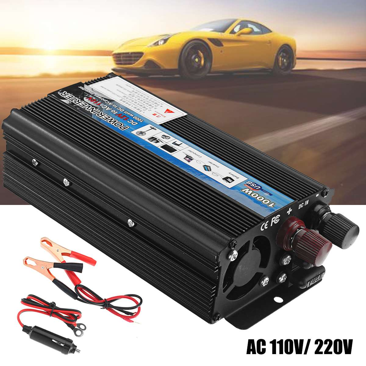 Car Power Inverters 1000W-Peak Modified Sine Wave DC 12V to AC 110V / 220V Voltage Transformer USB Charger Converter AdapterCar Power Inverters 1000W-Peak Modified Sine Wave DC 12V to AC 110V / 220V Voltage Transformer USB Charger Converter Adapter