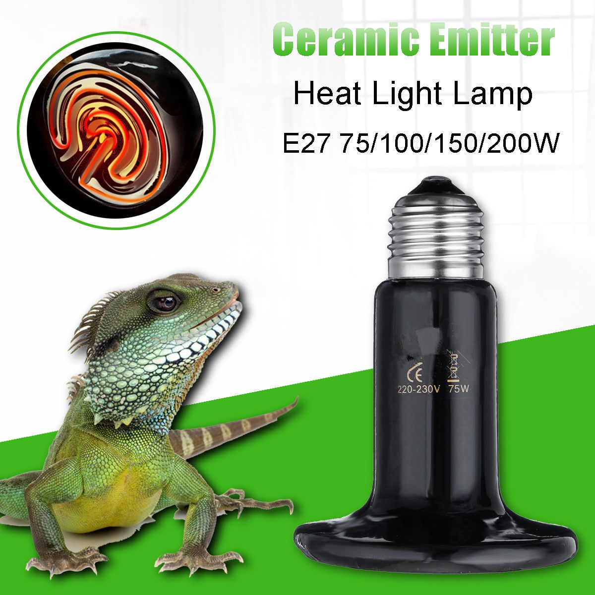 Smuxi 220V-230V E27 Pet Heating Bulb Infrared Ceramic Emitter Heat Lamps for Reptile Pet Heater Brooder  Socket Infrared CeramicSmuxi 220V-230V E27 Pet Heating Bulb Infrared Ceramic Emitter Heat Lamps for Reptile Pet Heater Brooder  Socket Infrared Ceramic