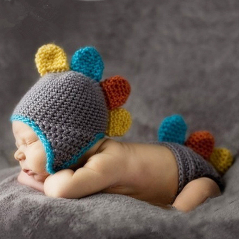Newborn Photography Props Baby Boy Accessories Dinosaur Knit Clothing Crochet Baby Hat+Pants Outfits Studio Baby Photo Props