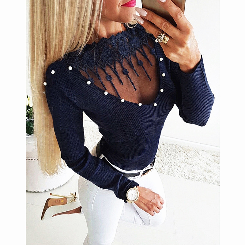 women new knit pullovers sweater tops winter spring undershirts female solid lace nail pearl knitwear knittings femme clothes
