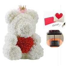 Fesival Souvenir Gifts 40cm Rose Bear Creative PE Artificial Rose Toy To Girlfriend Fake Flowers for Valentine's Day Love Gift