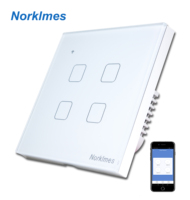 NorklmesWireless Android / IOS WIFI 4 Gang Swith Black Crystal Glass LED Switch 4 Gang Remote controlled Touch light switch