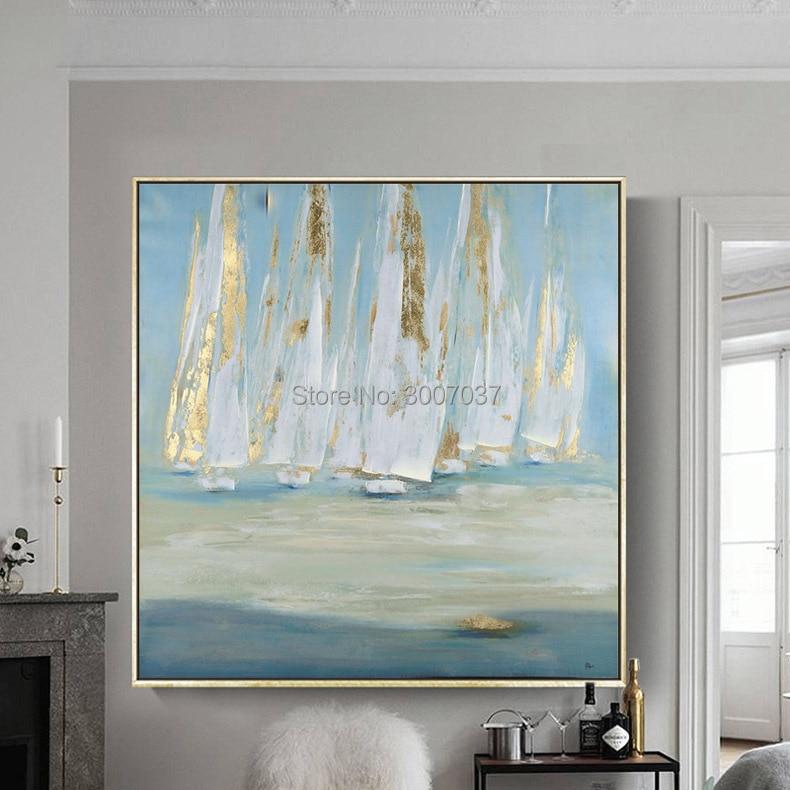 Barco à vela pintura a Óleo Quadros Cuadros Decoracion na Arte Da Parede Da Lona Fotos Para Sala de estar Moderna Abstrata Pintado À Mão