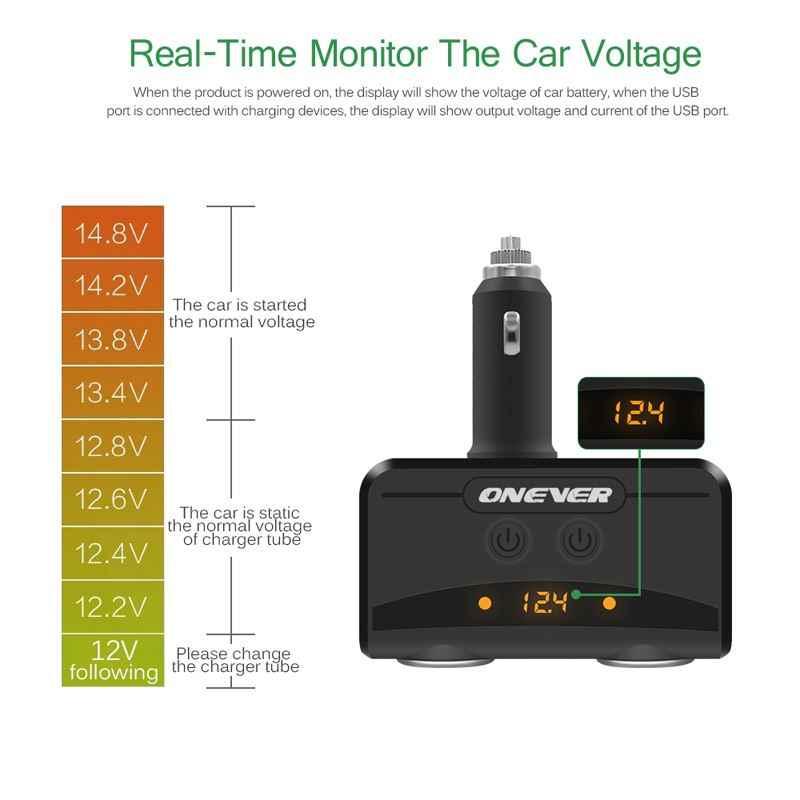 3.1A 5V Dual USB Smart Fast Car Charger 12V-24V Cigarette Lighter Socket Volmeter Display For Iphone Xiaomi Ipad