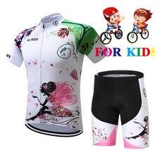 Детский гоночный велосипед Велоспорт Джерси Топы лето девочка/мальчик короткий рукав велосипедная одежда дышащий Джемперы для езды на горном велосипеде дети