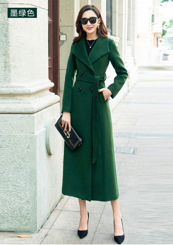 Женское зимнее пальто 2018 больших размеров длинное пальто женское серое темно зеленое черное шерстяное пальто с отложным воротником Женско