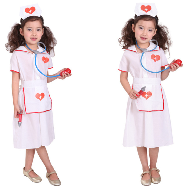 e1d2e4df8ebd7 Nurse Doctor Cosplay Girls Halloween Costume for Kids Baby Girl Carnival  Suit Homecoming Costume Party Dress Up Clothing