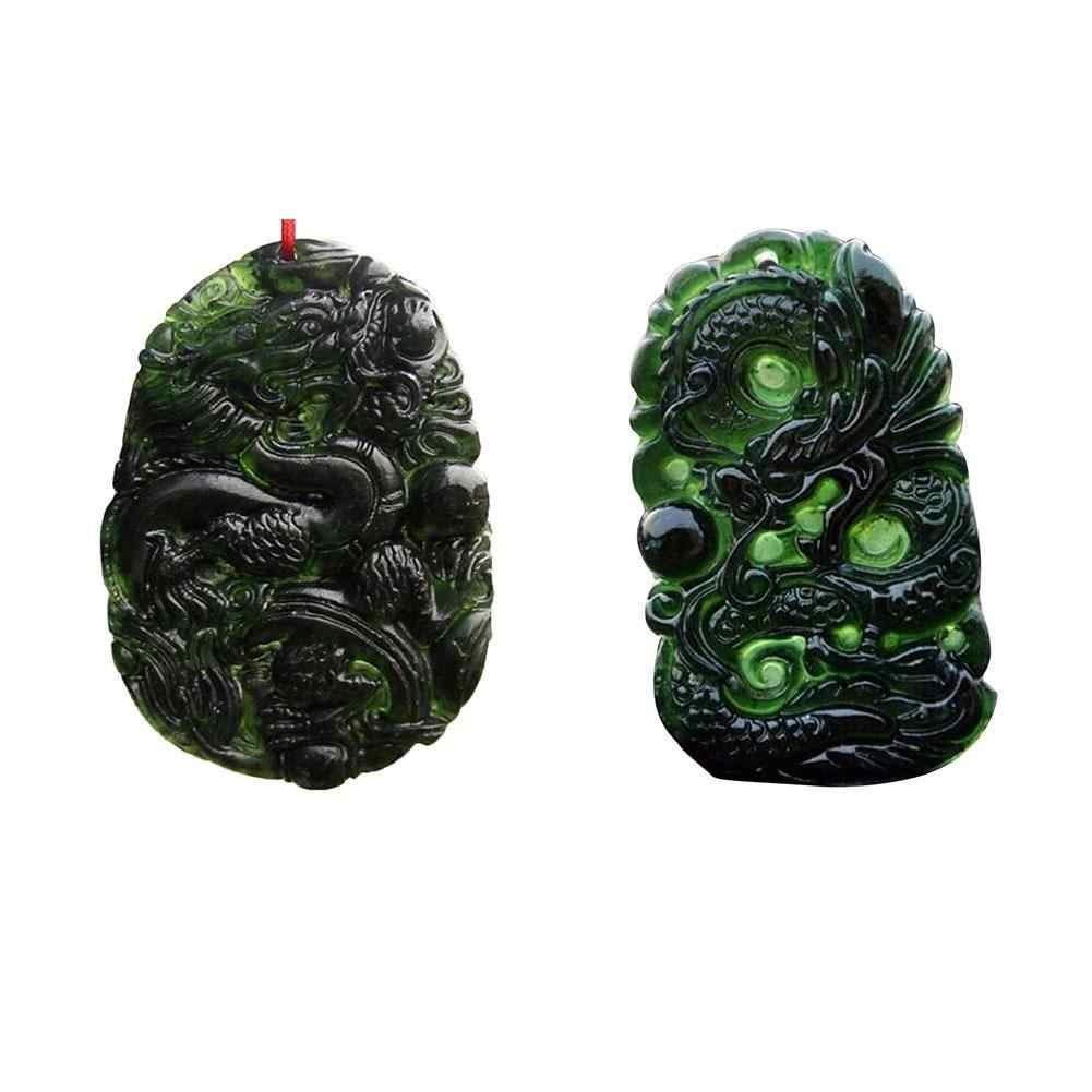 Chinês Preto Natural Artesanal Em Forma de Pingente de Dragão de Jade Verde Jade Enfeites de Mesa Para Escritório Estudo Artesanato Amuleto de Boa Sorte
