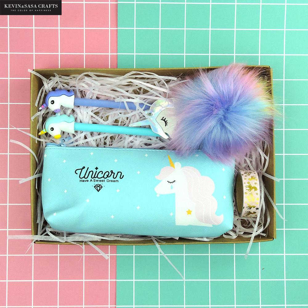 Pack Of 5 Unicorn Pencil Case Set Quality PU School Supplies Stationery Gift Set Pencilcase Pencil Box School Tools