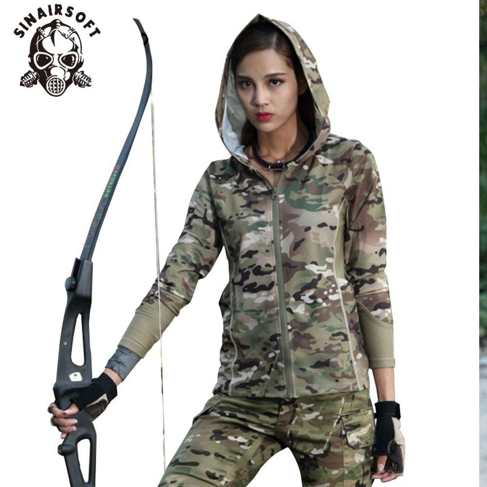 Frauen Camouflage Langarm Mit Kapuze Militärische Taktische Urban - Sportbekleidung und Accessoires