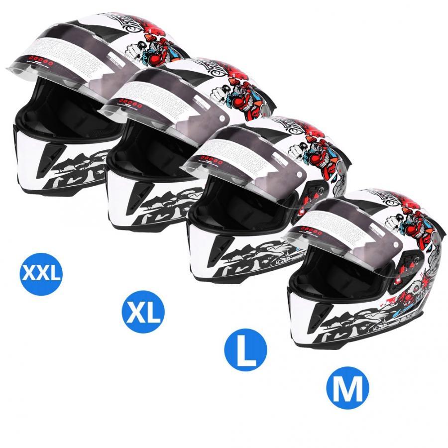 Casque de sécurité moto intégral avec Double lentille motif Clown blanc casques intégral moto course