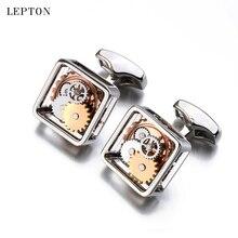 Hot Sales Square Steampunk Gear Cufflinks For Mens Lepton Watch Mechanism Gear Cufflinks Fashion Men Groom wedding cufflink