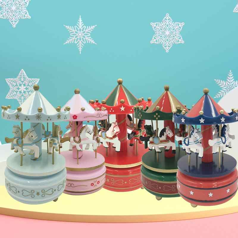 2019 Musical box carousel music carousel wooden carousel music box toy children's doll game