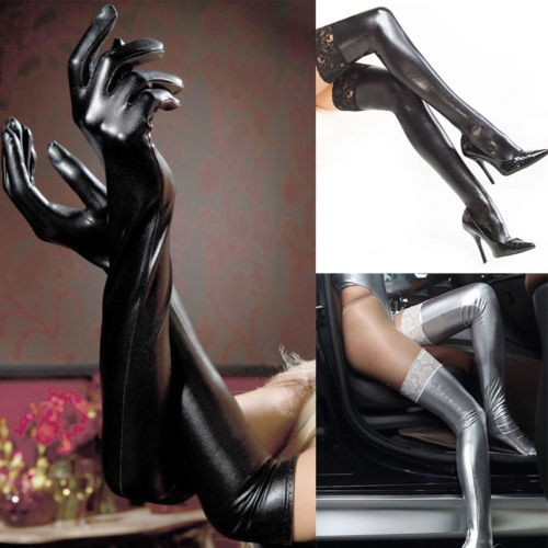 Sexy Long Latex Leather Gloves Stocking Women Patent Leather Elastic Lace Long Stockings Party Tight Stockings Hosiery