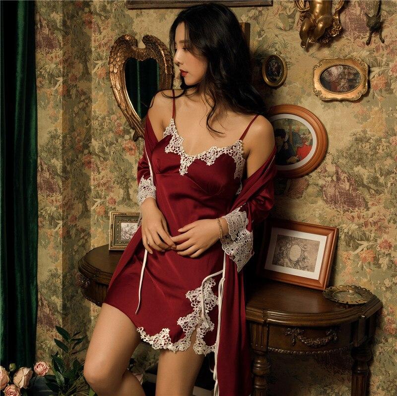 Women Robe & Gown Sets Flower Satin Sleepwear Female Sexy Silk Lace Ladies Robe Set Silk Sleep Lounge Robe Elegant Nightdress