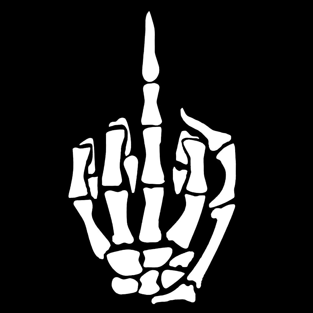 Skull Skeleton Bone Middle Finger Flipping Off Car Decal//Sticker White