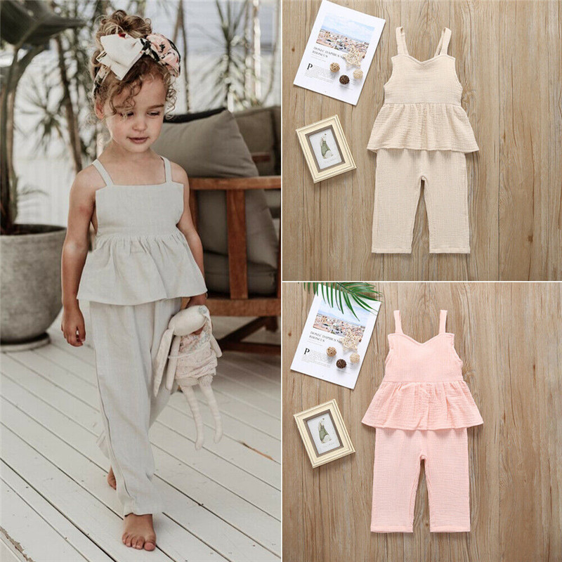 0b67f2d65 Casual Kids Baby Girl Summer Cotton Outfits Ruffle Sleeveless Strap Vest  Long Pants Solid Color 2Pcs
